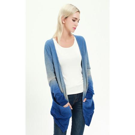 Women's Long Sleeve Dip-Dye Wool Cashmere Cardigan for Fall Winter EW17A01
