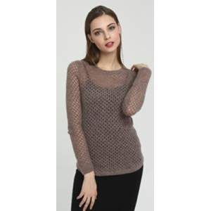 New custom design long sleeve silk cashmere women sweater with brown color China manufacturer