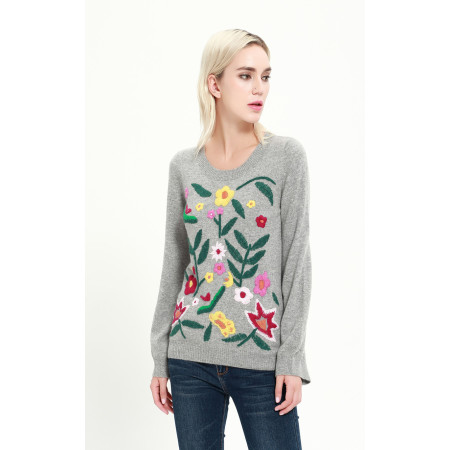 Women's full body embroidery cashmere blend sweater