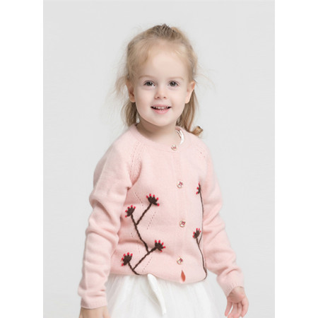 Kid embroidery pure cashmere cardigan for Fall Winter