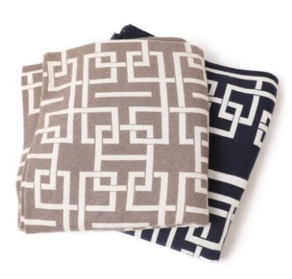 Couverture en cachemire pur avec motif Jacquard en deux couleurs