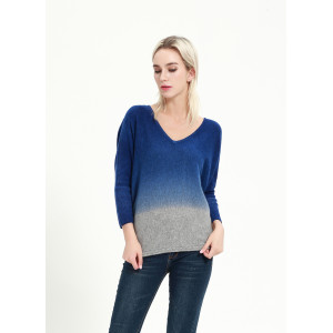 Custom design fashion design women cashmere blend sweater with dip dye wholesale