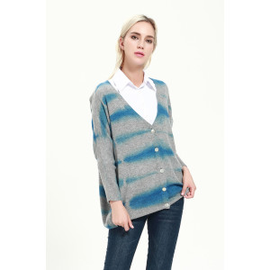 OEM factory fashion women cashmere blend cardigan with dip dye printing wholesale