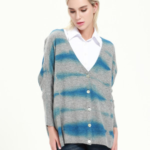 cardigan de mélange de cachemire de femmes de mode avec l'impression de colorant d'immersion