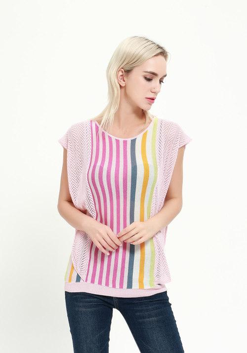 jersey de seda de cachemir de manga corta para mujer con varios colores