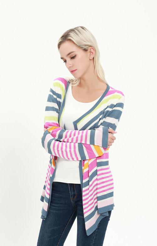 Cárdigan de mujer de seda de cachemir de manga larga con múltiples colores