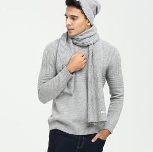 Conjunto de gorro y bufanda de punto de pura cachemira tejida con cable de color sólido para hombre para otoño invierno EMA19W04