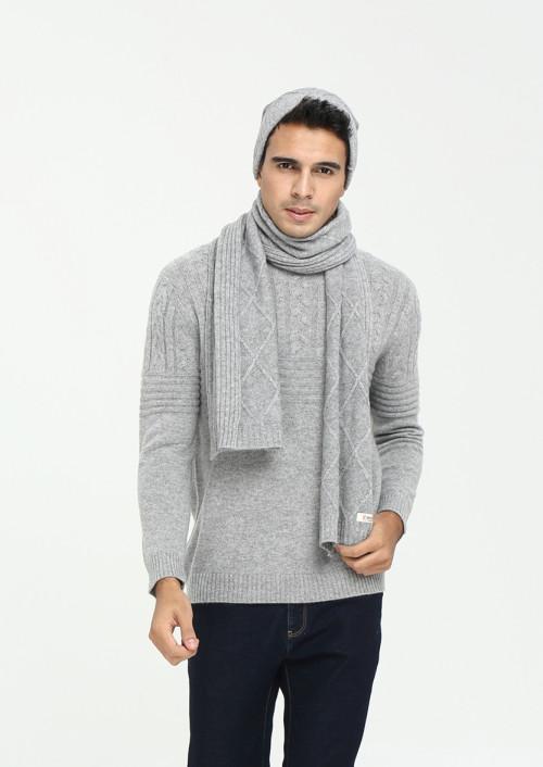 Ensemble de bonnet et écharpe en cachemire pur pour hommes, couleur unie, automne-hiver EMA19W04