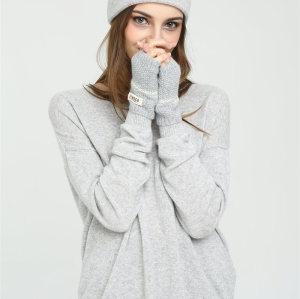 conjunto de diadema y guantes de cachemira pura de color sólido para mujer