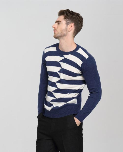 suéter de cachemir para hombre con rayas para otoño invierno