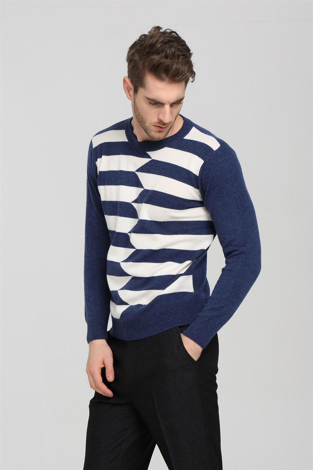 suéter de cachemir para hombre con rayas