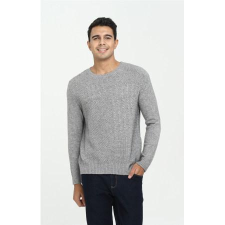 Langarm-Pullover aus reinem Kaschmir für Männer mit einfarbiger Farbe