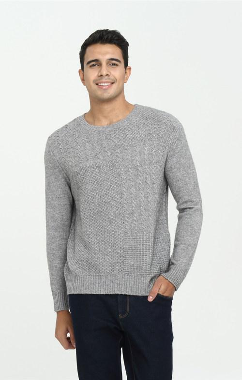 jersey de manga larga de pura cachemira para hombre con color liso