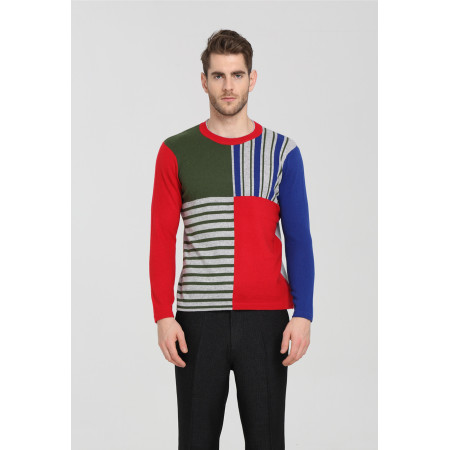 Men's Long Sleeve Crew Neck Constrast Colour Cashmere Sweater for Fall Winter EM19W09