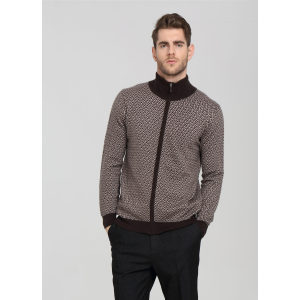 Wholesale thick pure cashmere men cardigan with fancy patterns China supplier