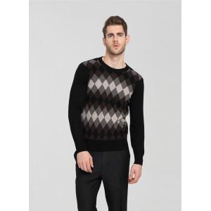 Langarm-Pullover aus reinem Kaschmir für Männer mit Rautenmuster