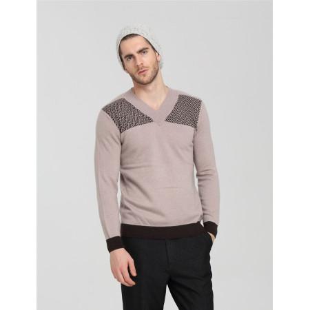 Mode vneck reiner Kaschmir Männerpullover mit Streifenmustern