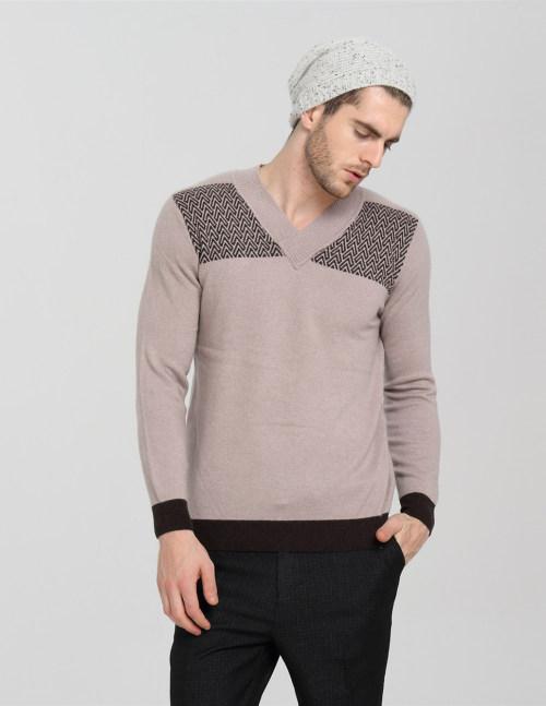 moda vneck suéter de hombre de pura cachemira con patrones de rayas