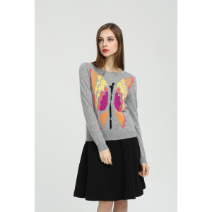 Wholesale long sleeve pure cashmere women sweater with hand embroidery China supplier