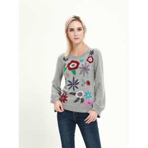 wholesale high quality cashmere sweater with hand embroidery with ODM design service