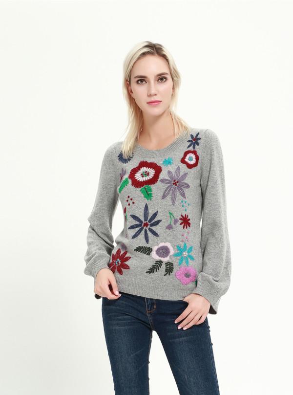 nuevo diseño de suéter de cachemir puro con bordado a mano