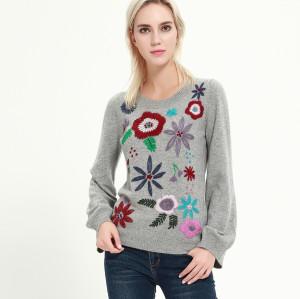 suéter de mujer de cachemira pura de moda con bordados a mano para el invierno