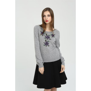 ODM fashion 100% cashmere women sweater with embroidery China manufacturer