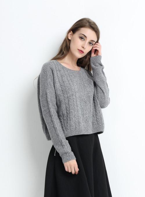 cuello redondo 100% puro cachemir suéter para mujer con hilos de lurex