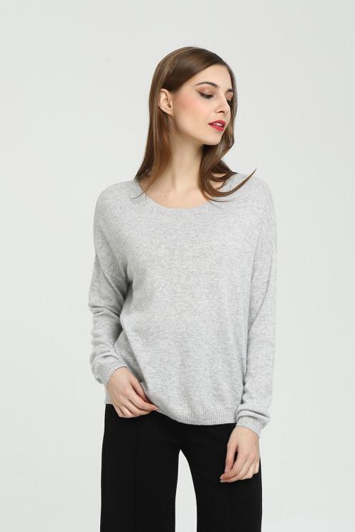 suéter de mujer de cachemira pura de diseño de moda con color sólido