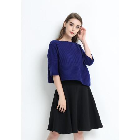 Damen 100% reiner Kaschmirpullover mit dunkelblauer Farbe