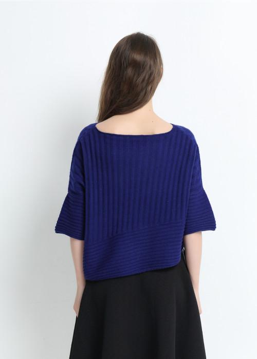 suéter 100% puro de cachemira para mujer con color azul marino