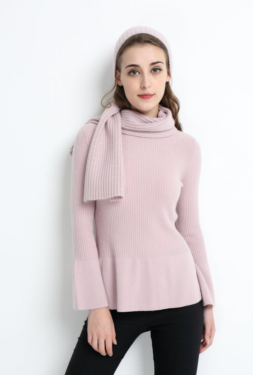 suéter de mujer de cachemir puro de moda con color rosa