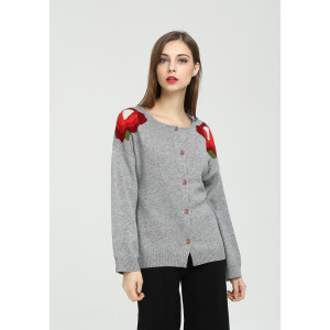 Wholesale womens hand embroidery pure cashmere cardigan for fall winter China factory