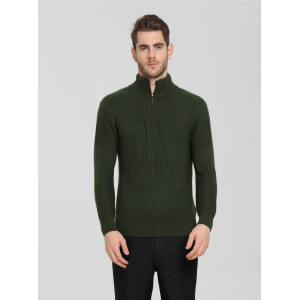 OEM fashion design 100% pure cashmere men cardigan with green color China supplier