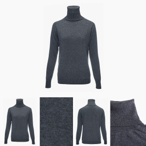 cuello de tortuga puro suéter de cachemir de mujer con color liso