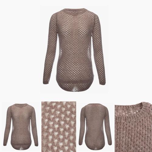 suéter de mujer de seda de cachemir de manga larga con color marrón