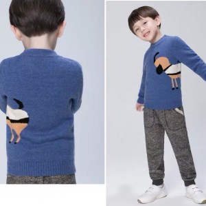 pull bleu garçon en cachemire à col rond
