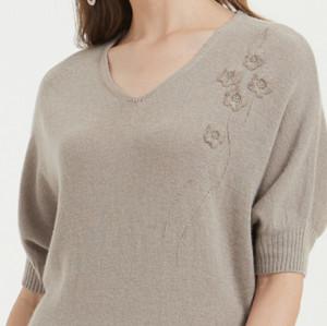 suéter largo 100% puro de cachemira con bordado a mano