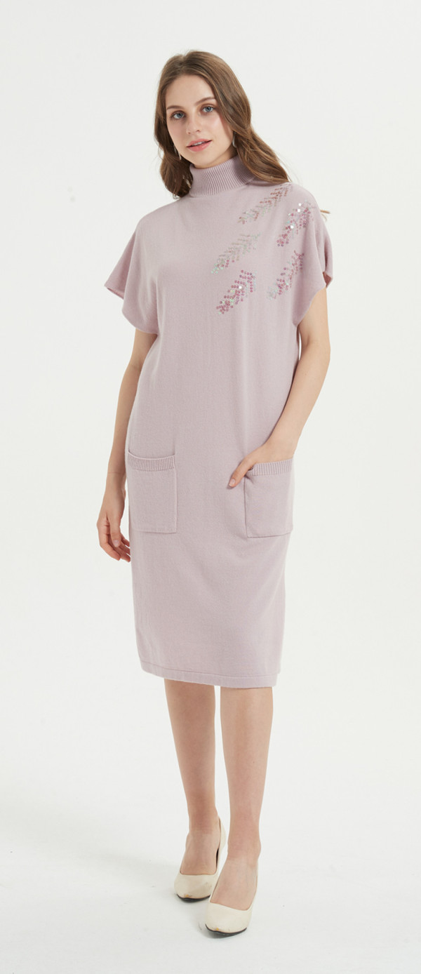 wholesale private label high quality pure cashmere dress with hand embroidery with cheap price