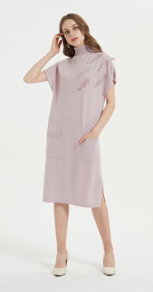 jersey de mezcla de cachemir para mujer con bonitos bordados a mano