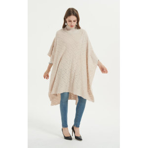 Custom new design long style pure cashmere women poncho with knitted patterns wholesale