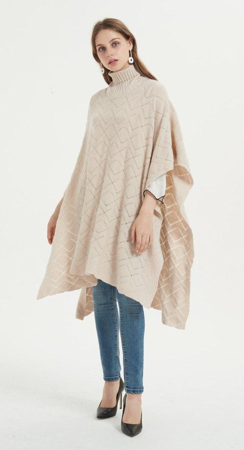 poncho femme en pur cachemire de style long avec des motifs tricotés