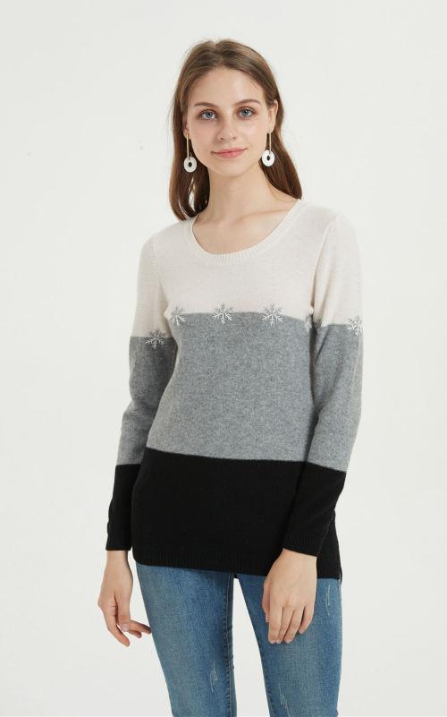 moda suéter de pura cachemira para mujer con bordado a mano