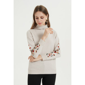 Wholesale high quality woman pullover custom design cashmere sweater with hand embroidery