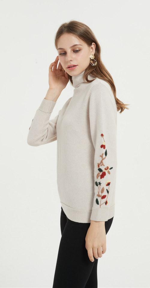 broderie à la main mode pur cachemire femmes pull pour l'automne hiver