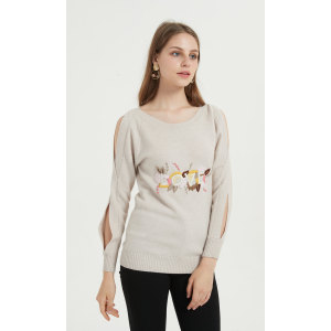 wholesale OEM design women high quality cashmere sweater with hand hand embroidery