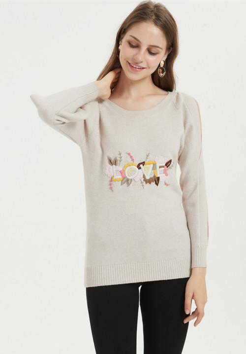 nuevo jersey de pura cachemira para mujer con bordado a mano