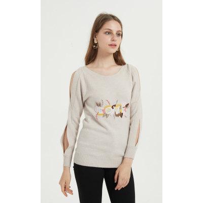 suéter de mujer de cachemira pura de nuevo diseño con bordado a mano para otoño