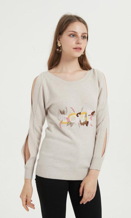 nouveau pull en cachemire pur pour femmes avec broderie à la main pour l'automne