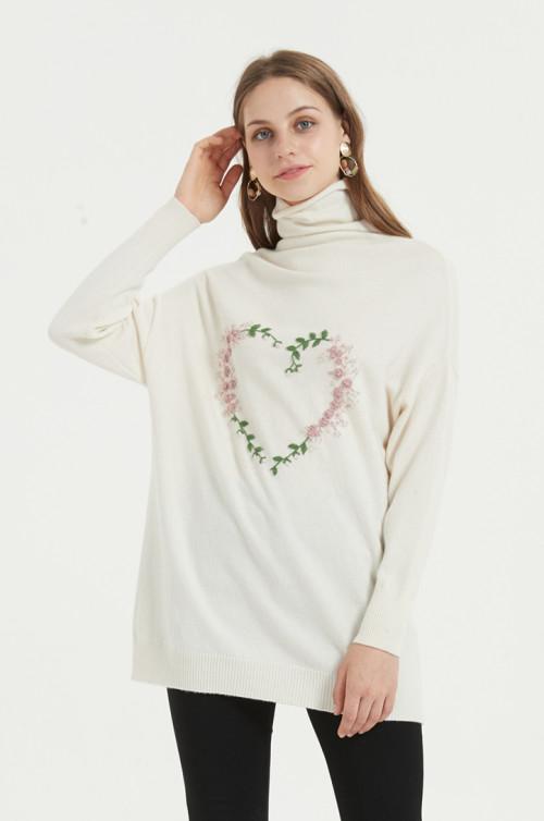 suéter de mujer de cachemira pura de nuevo diseño con bordado a mano
